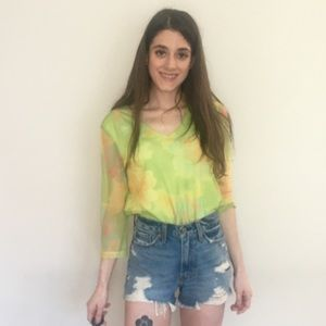 Vintage lime green mesh top 90s 1990s small